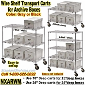 Wire Shelf Archive Transport Carts  / NXARWM