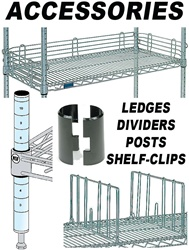 ACCESSORIES FOR WIRE SHELVING LEDGES, DIVIDERS, POSTS, CLIPS (NXB)