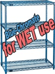 BLUE-CHROMATE WIRE SHELVING FOR WET & DAMP USE (NXE)