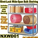 Wood-Deck Industrial Rivet Shelving / NXWD01