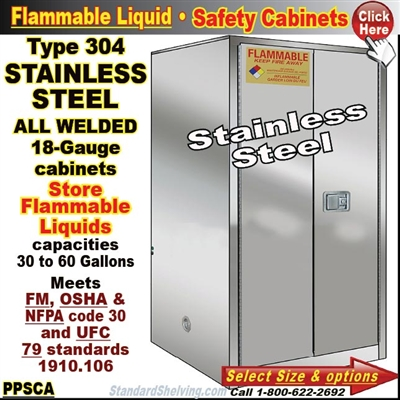 STAINLESS STEEL Flammable Safety Cabinets