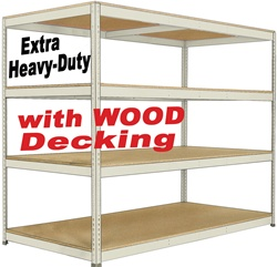 EXTRA HEAVY-DUTY DOUBLE-RIVET BULK-SHELVING WITH WOOD DECKING