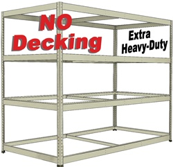 EXTRA HEAVY-DUTY DOUBLE-RIVET BULK-SHELVING WITH NO-DECKING