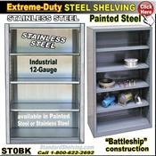 ST0BK / Extreme Duty Steel bookcases and stainless steel Bookcases