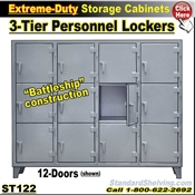 ST122 / Extreme-Duty 3-Tier Personal Lockers