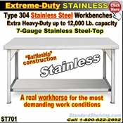 ST701 / Extreme Duty Stainless Steel WorkBenches