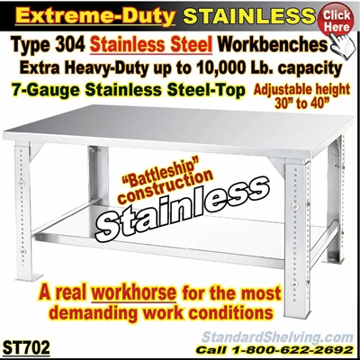 ST702 / Extreme Duty Stainless Steel WorkBenches