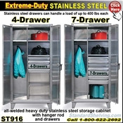 ST916 / Extreme Duty Stainless 7-Drawer Wardrobe Cabinet