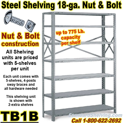 18 gauge Steel Shelving / N&B / TB1B