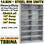 "STEEL BIN UNIT WITH 14-OPENINGS, UNIT 87""HIGH (TBA)"
