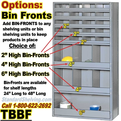 Optional Bin-Fronts for Steel Shelving / TBBF