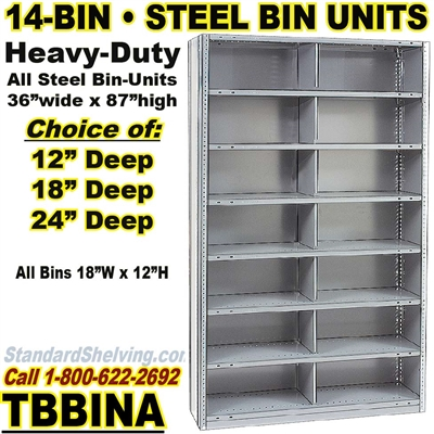 14-Bin Openings Steel Shelf Unit / TBBINB14