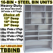 16-Bin Openings Steel Shelf Unit / TBBINB16