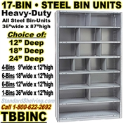 17-Bin Openings Steel Shelf Unit / TBBINC17