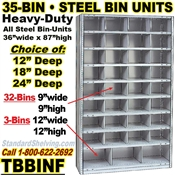 35-Bin Openings Steel Shelf Unit / TBBINF35