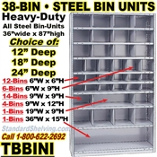 38-Bin Openings Steel Shelf Unit / TBBINI38