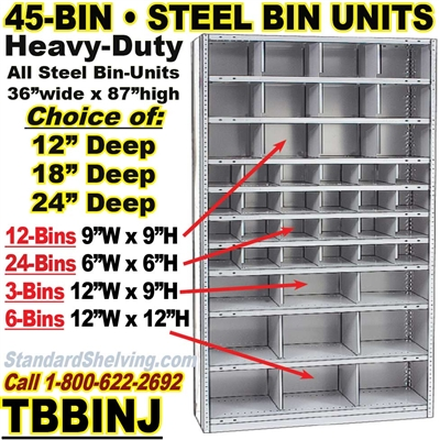45-Bin Openings Steel Shelf Unit / TBBINJ45