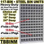 117-Bin Openings Steel Shelf Unit / TBBINM117