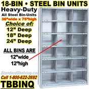 18-Bin Openings Steel Shelf Unit / TBBINQ18