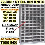 72-Bin Openings Steel Shelf Unit / TBBINS72