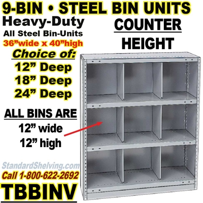 9-Bin Openings Steel Shelf Unit / TBBINV9
