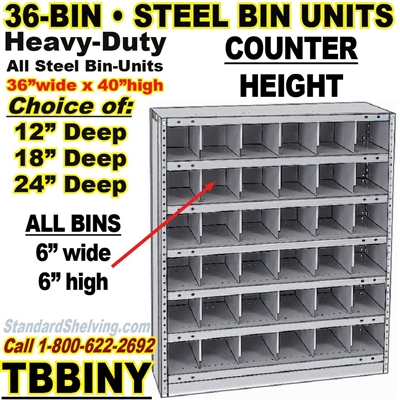 36-Bin Openings Steel Shelf Unit / TBBINY36