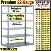 22 gauge Open Steel Shelving / Sturdy-Shelf / TBBX22S