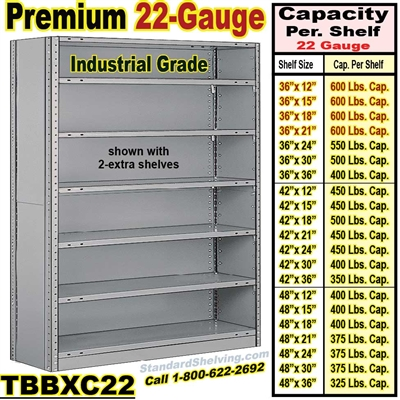 22 ga. Closed Steel Shelving / Clip-Type / TBBXC22