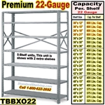 22 gauge Open Steel Shelving / Clip-Type / TBBXO22