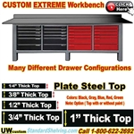 CUSTOM Extreme Duty Plate Steel Top WorkBenches