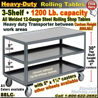 (135) 88LV / Heavy Duty Steel 1 Shelf Rolling Table ...