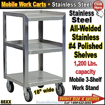Stainless Steel Bench Mobile Cabinets - 18 wide stainless steel work table