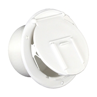 JR Products 370-2-A Polar White Round Electric Cable Hatch with Back.