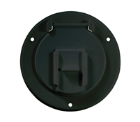 RV Designer B123, Round Electrical Cable Hatch, Basic, 4.3 inch Diameter, Black.
