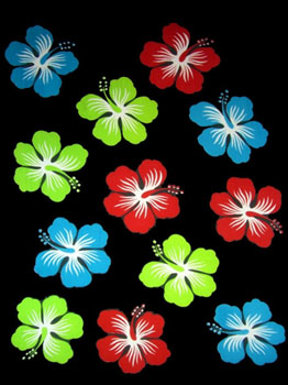 Twelve Hibiscus Black with Red, Green and Blue Flowers