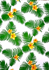 White with Green Palm Leaves and Yellow Plumeria Flowers