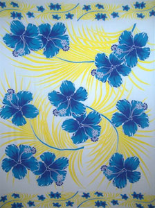 Light Blue with Yellow Palm Leaves and Blue Hibiscus Flowers