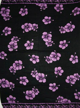 Black with Purple Hibiscus Flowers.