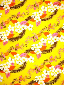 Yellow with Hawaiian Print & Brown Leaves
