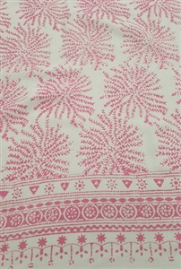 Fancy White Sarong With Pink Coral Pattern
