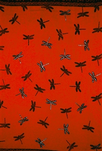 Red Sequined with Dragonflies