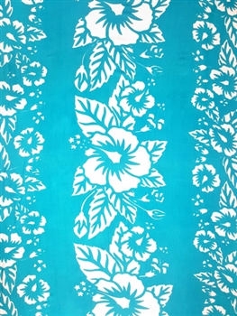 Turquoise Sarong With Three White Hibiscus Flowers