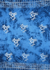 Batik Blue With Hibiscus