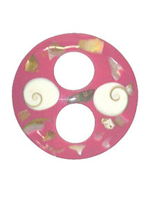 Pink Circle Shaped Tie with Abalone Shell