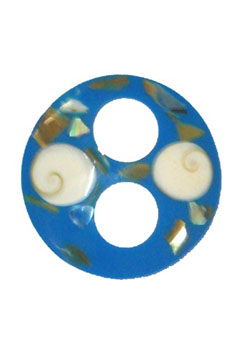 Blue Circle Shaped Tie with Abalone Shell
