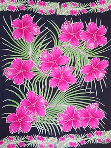 Black Sarongs with Pink Hibiscus and Green Palm Leaves