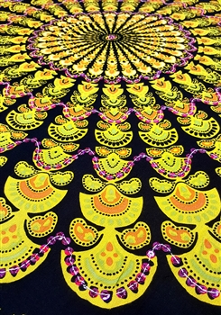 Mandala Sarong - Black With Yellow & Purple Sequins
