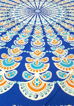 Mandala Sarong - Blue With Orange and Opalescent Sequins