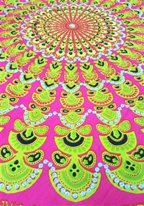 Mandala Sarong - Pink With Green and Opalescent Sequins