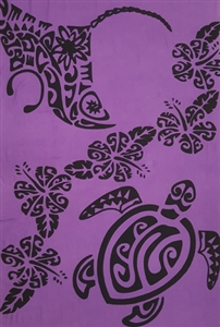 Plus Size Purple Sarong with Polynesian Style Turtle and Stingray